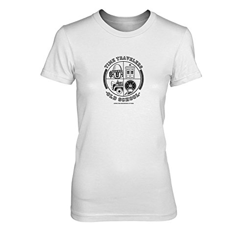 Time Travellers - Damen T-Shirt, Größe: XL, Farbe: weiß
