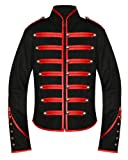 Men's Unique Gothic Steampunk Red Black Parade Military Marching Band Drummer Jacket Goth Punk Emo