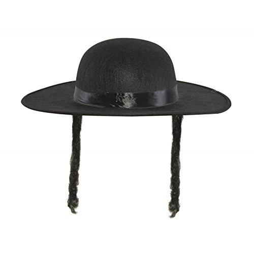 Rabbi Kostüm Kinder - Woollen Hat - Imitation Rabbi Jacob - Black With Hair