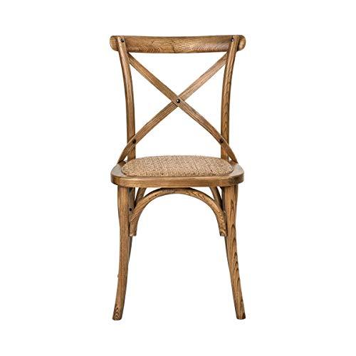 Colonial Cross (BUTLERS Cross Country Stuhl, 46 x 42 x 87 cm - Brauner Esszimmerstuhl aus Holz und Rattan - Klassischer Polsterstuhl)