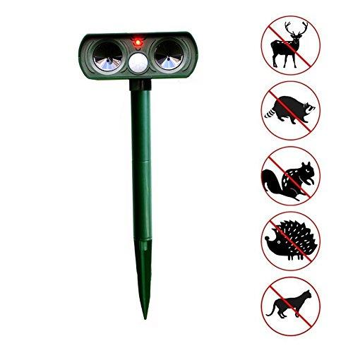 Ndier Solar Katzenschreck Ultraschall Abwehr mit Batteriebetrieben und Blitz - Wetterfest - Hundeschreck, Marderschreck, Waschbären, Tierabwehr mit Erdspieß Animal Repellent