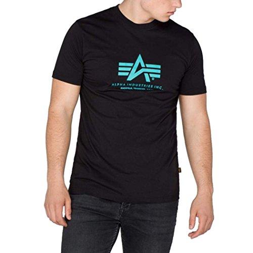 Alpha Ind, T-shirt basic t-shirt - Black/Blue Nero/Blu