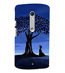 Fiobs Designer Back Case Cover for Motorola Moto X Play (Lord Buddha Tree Blue Black)