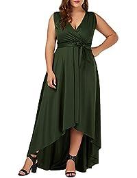 GAMISS Mujer Vintage Vestido de Fiesta Noche Sin Mangas Talls Grandes Verde XL-5XL