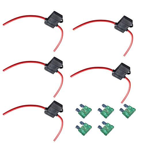 Preisvergleich Produktbild Mintice™ 5 X KFZ Sicherungshalter Gehäuse vergossen Flachsicherungen 12 Ga 30A Inline Wasserdichte Box Stecker