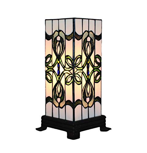Vintage Tiffany Tischlampen Platz 6 Zoll, Tiffany Tischlampe Antik Original, Glasmalerei Lampen Einfachen Stil Schlafzimmer Wohnzimmer von FBOSS - Tiffany-art-glas-tisch-lampe