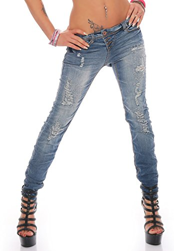 Rock Angel Donna Anca Jeans Aderenti A sigaretta CL 609 M10 Middleblue