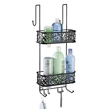 duschregal ohne bohren zu montieren duschkrbe zum hngen aus metall fr smtliches duschzubehr mattschwarz amazonde kche haushalt - Duschzubehor Zum Hangen