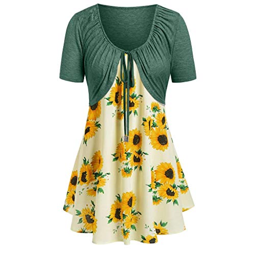 VJGOAL Damen T Shirt, Frauen Sexy Party Kurze Ärmel Strickjacke Top Sonnenblume Drucken Camisole ()