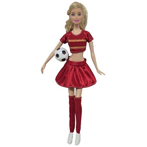Wokee Barbie Dress Up Fußball Cheerleader Kleidung Puppe Zubehör handgemachte Kleidung Tops, Hosen, Socken (A)