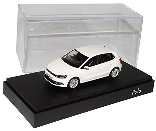 Preisvergleich Produktbild VW Volkswagen Polo Pure Weiss 5 Türer Modell Ab 2009 Ab Facelift 2014 V Typ 6C 1/43 Herpa Modell Auto mit individiuellem Wunschkennzeichen