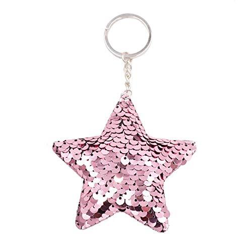 Llavero lentejuelas forma estrella brillante decoración