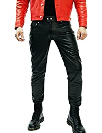 Bockle® 1991 G-Zip Pantalon en cuir noir pour hommes Zip grâce