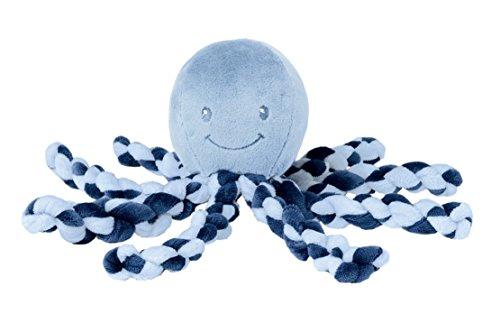 Nattou Beruhigendes Kuscheltier Krake für Babys, Jungen, 23 cm, marineblau/hellblau - Lapidou