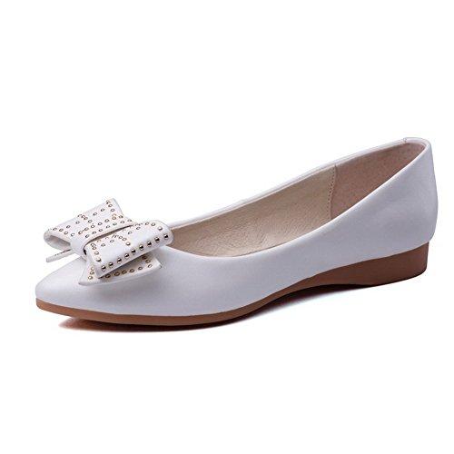 AgooLar Femme Pointu Non Talon Tire Couleur Unie Chaussures à Plat Blanc