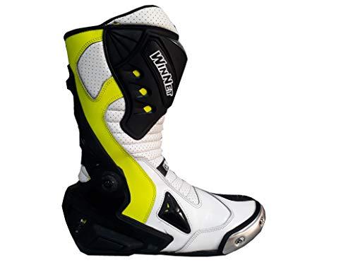 WinNet Stivali da moto pelle per tuta da pista o strada con sliders - GIALLO FLUO
