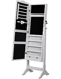 Songmics Schmuckschrank Spiegel abschließbar 158 cm hoch weiß JBC82W