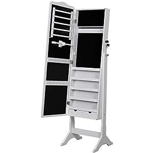 Songmics armadio specchio portagioie gioielli a chiave con specchio 158 cm jbc82w - Ikea portagioie ...