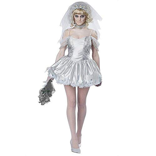 Fashion-Cos1 Frau Halloween Leiche Geist Puppe Braut mumifizierte Kunst kostüm Scary Phantasie Joker Outfit Lange Spitzenkleid für mädchen Party kostüm (Scary Kostüm Puppen)