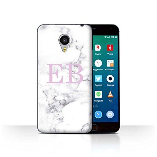 Personalisiert Weiß Marmor Mode Hülle für Meizu MX4 Pro/Rosa Stempel Design/Initiale/Name/Text Schutzhülle/Case/Etui