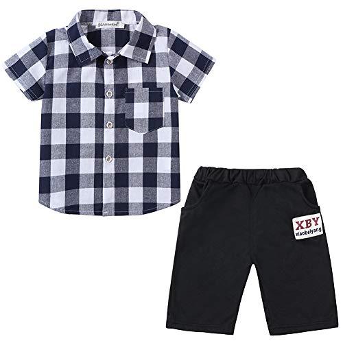Plaid Woven Shorts (Baby Jungen 2 Stück Plaid Woven Shirt Shorts Set)
