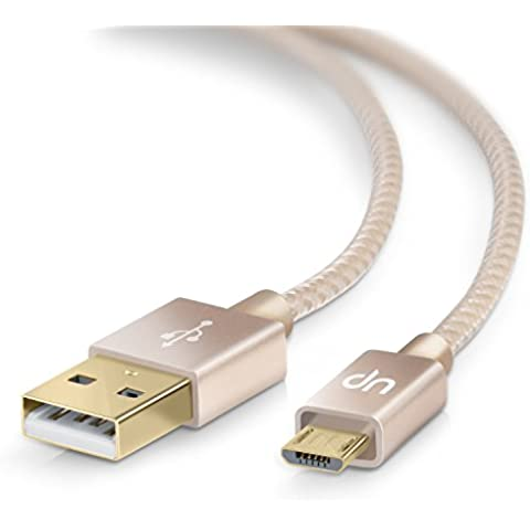 5m Premium Cable MicroUSB a USB de alta velocidad | Nylon trenzado | Cable cargador y de datos | Cable de carga rápida | Contactos recubiertos de oro 24 k | para Android, Samsung, HTC, Motorola, Nokia, LG, HP, Sony, Blackberry y más |