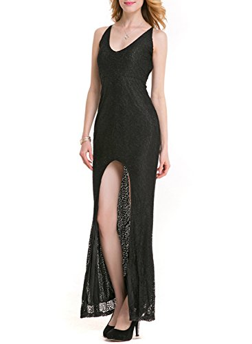 Azbro Women's V Neck front High Slit Lace Evening Dress Black
