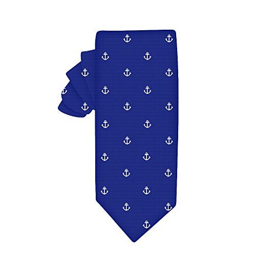 Corbata estrecha navy con anclas blancas | 5 años de garantía | Regalos para hombres | Accesorios para padrinos