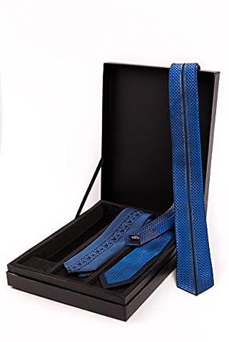 Cravate bleue en soie résistante et microfibre --- BE BLUE --- 3 cravates Premium bicolores avec un motif noble et une notice pour faire les nœuds, parfaites pour ces soirée qui se terminent à