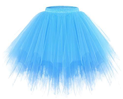 bridesmay Tutu Damenrock Tüllrock 50er Kurz Ballet Tanzkleid Unterkleid Cosplay Crinoline Petticoat für Rockabilly Kleid Blue - Im Stil Der 50er Kostüm