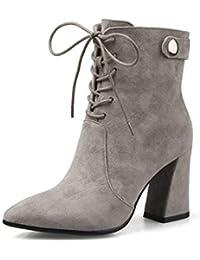 Calzado para mujer 2018 Nuevo otoño e invierno Martin Botas gruesas con tacón  alto Puntiagudos con cordones Botines de cuero gris Zapatos… 6342fa8922df