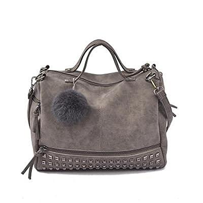 Vintage cuir nubuk Femme Top-Handle Rivet Sacs Sacs Femmes Plus grande boule de cheveux Moto Sac à bandoulière Messenger Bag