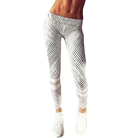 Samber Frauen High Elastic Yoga Hosen Schwarz und Weiß Streifen Printing Slimming Sportswear L