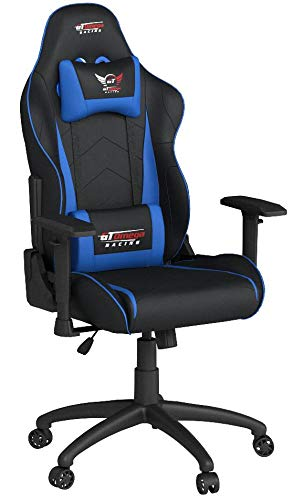 GT OMEGA PRO RACING OFFICE CHAIR BLACK NEXT BLUE LEATHER