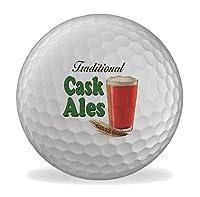 Cask Ales Martin Wiscombe 6 X Printed Balles De Golf Fantaisie