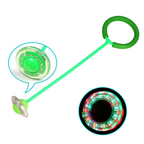 Yangyme Kinder Flash Jumping Balls Spielzeug Baby Kids Sport Fitness Sprungball blinkend Skip Ball Licht Hoppe für Erwachsene und Kinder, Springseil Sport-Spielzeug - 1 Stück, grün, Einheitsgröße