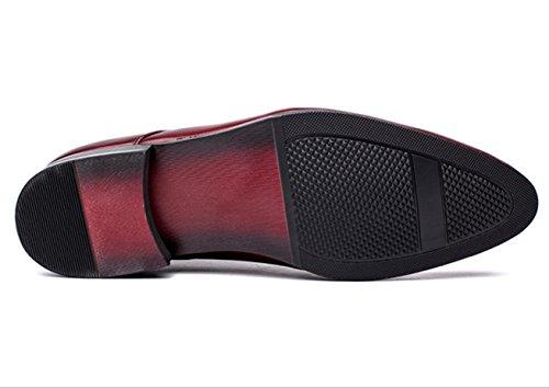 WZG Das neue High-End-Herren-Kleidschuhe runden Spitzen schwarz spitze Schuhe Hochzeitsschuhe der Männer 9.5 wine red