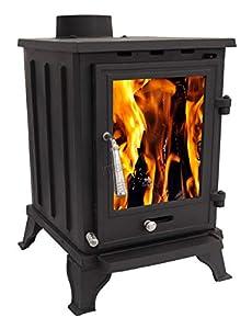 Woodburner Cast Iron Log Burner Multifuel Wood Burning Stove Fireplace 5KW CR-A5 Black