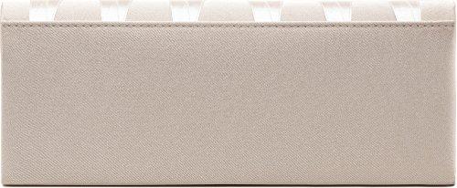 VINCENT PEREZ, Clutch, Abendtaschen, Umhängetaschen, Unterarmtaschen aus Satin mit Rosen-Applikation und Perlen-Dekoration, mit abnehmbarer Kette (120 cm), 25,5x10x5 cm (B x H x T) Helltaupe