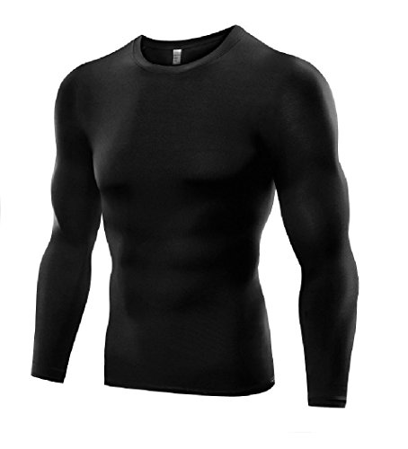 Men's Sports Base Layer Long Sleeved Compression Vest Comfortable Tight Fit Body Shaper That Compresses Core Muscle Areas AIDS Performance. Official Pure Blue Product (Black, XX-Large)