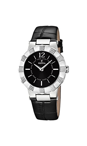 Festina Women's Quartz Watch with Black Dial Analogue Display and Black Leather Strap F16734/2