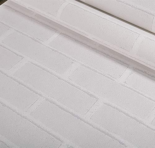 weiße Ziegel-Tapete Vliesstoff Vliesstoff Tapete Moderne einfache 3D-Schäumen-Wohnung Wohnzimmer TV-Hintergrund Wand 53cm*10m ()