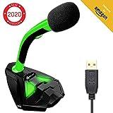 KLIMTM Voice Micrófono USB con Base para Ordenador - Micro de Escritorio, Micrófono para Jugadores - Verde y Negro -Nueva Versión 2020