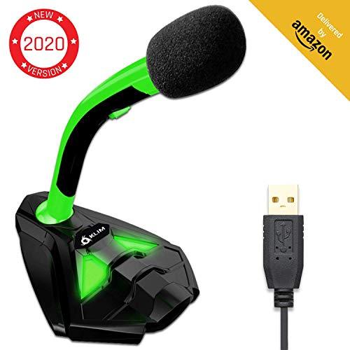 KLIM Voice Desktop USB Mikrofonstand für Laptop Computer - Gaming Mic - Mikrofon PC PS4 Grün [ Neue 2020 Version ] -