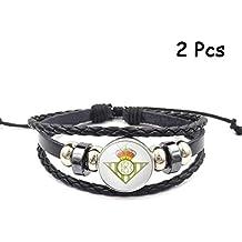fa9033c5fb421 Lorh s store Retro La Liga Club de fútbol Pulsera de Cuero Tejido con  Cuentas Pulsera de