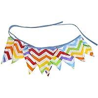 Ogquaton Bandera Triangular Material de algodón Bandera Guirnalda Decorada Triangular Colorida Bandera Ondulada Fiesta Festival Cumpleaños Evento Decoración 1 PC