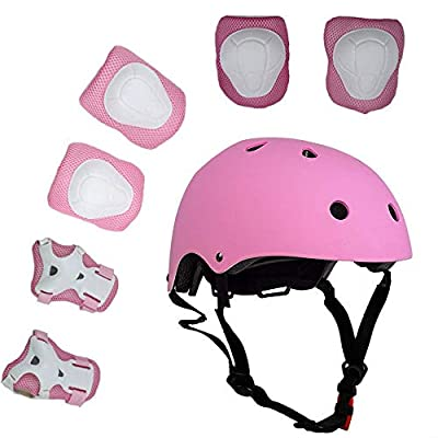 UniqueFit Lucky-M Kids 7 Pieces Outdoor Sports Protective Gear Set Boys Girls Cycling Helmet Safety Pads Set [Knee&Elbow Pads and Wrist Guards] for Roller Scooter Skateboard Bicycle(3-8Years Old) by Lucky-M
