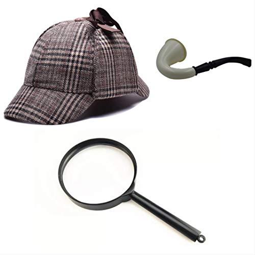 thematys Sherlock Holmes Deerstalker Mütze + Pfeife + Lupe Detektiv Kostüm-Set - perfekt für Fasching & Karneval - Einheitsgröße (Style - Sherlock Holmes Kostüm