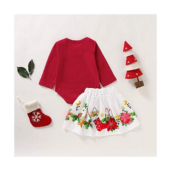 BBSMLIN Disfraces Navidad Niñas Letra de Estampado Mameluco + Dibujos Animados Falda Ropa de Conjunto 3
