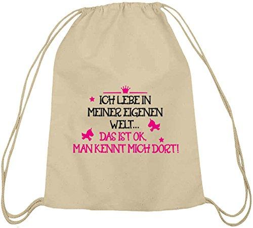 Shirtstreet24, Meine eigene Welt, Unicorn Einhorn Baumwoll natur Turnbeutel Rucksack Sport Beutel Natur